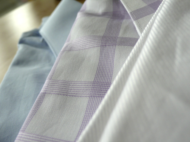 The three shirts (detail) from Maxwell's Clothiers. 